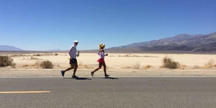 Costa Running With Her Pacer for Badwater 135