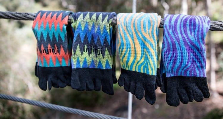 Injinji Socks hanging on a clothes line