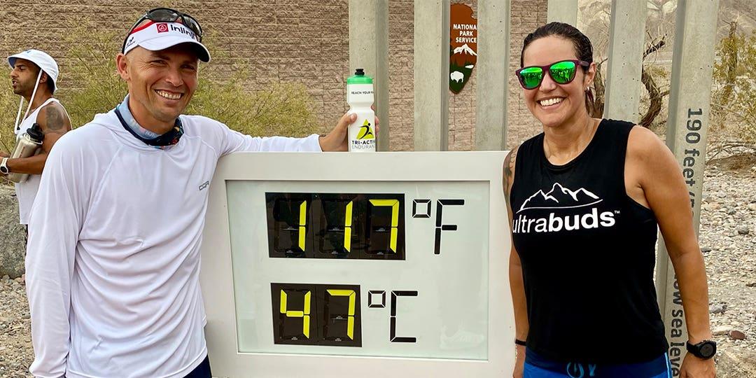 Team Injinji athlete Jonathan Gunderson and Team Injinji Manager Isabella Janovick posing together