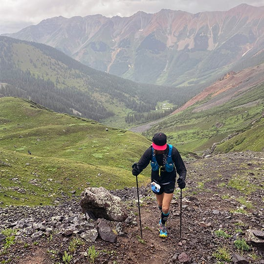 Michael Wardian Hiking Up A Rocky Mountainside