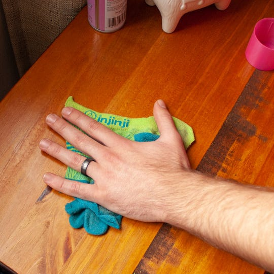 cleaning surfaces with injinji socks