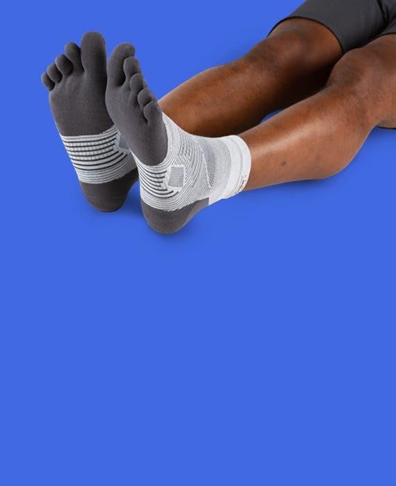 Injinji Run Lightweight Mini-Crew Socks Without Shoes.